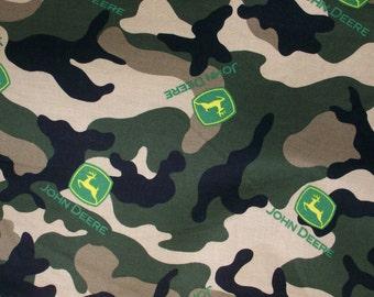 "John Deere Logo Toss on Camo Cotton Fabric 44"" Wide Sold by the half Yard"