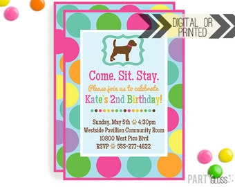 Puppy Party Invitation | Digital or Printed | Girly Dog Invitation | Girly Puppy Party | Dog Invitation | Puppy Birthday Party | Dog Invite