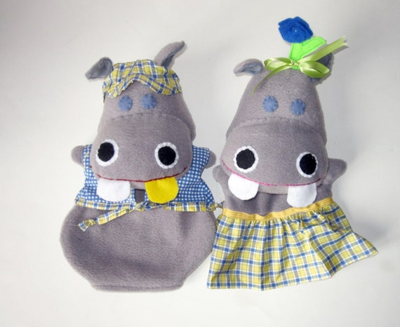 George And Martha Gold Tooth Hand Puppet Hippos Cus...