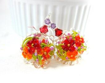 Red Orange Purple Floral Earrings, Colorful Earrings, Nature Earrings, Lampwork Earrings, Botanical Jewelry, Flower Jewelry - Cassie