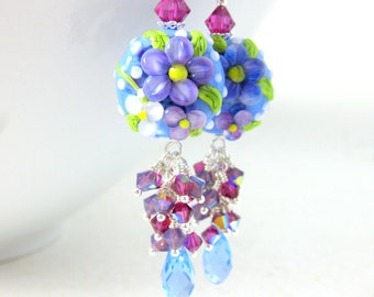 Pastel Floral Dangle Earrings, Colorful Crystal Earrings, Nature Earrings, Lampwork Earrings, Blue Pink Purple Earrings, Garden Earrings