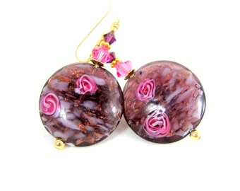 Purple Pink Gold Glass Earrings, Murano Earrings, Pink Rose Earrings, Amethyst Venetian Glass Earrings, Dangle Earrings, Pretty Earrings