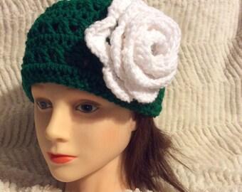 Crochet head band Crochet ear warmer with rose flower great for women and children