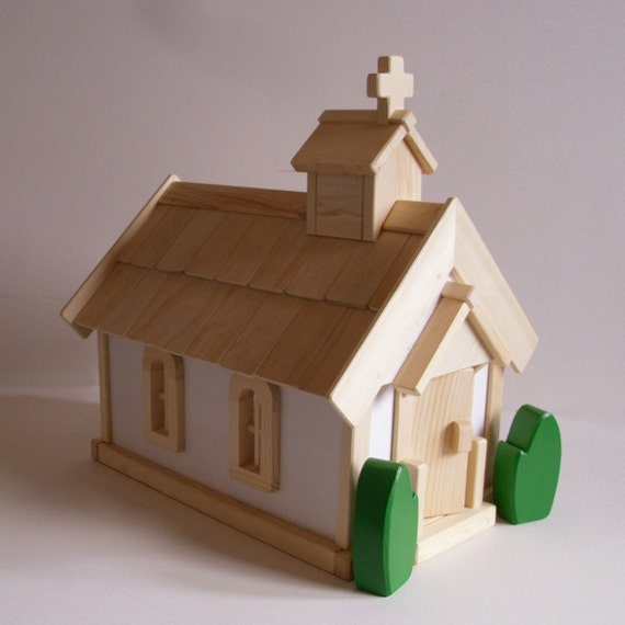 Toys For Church : Wooden toy country church play set gender neutral