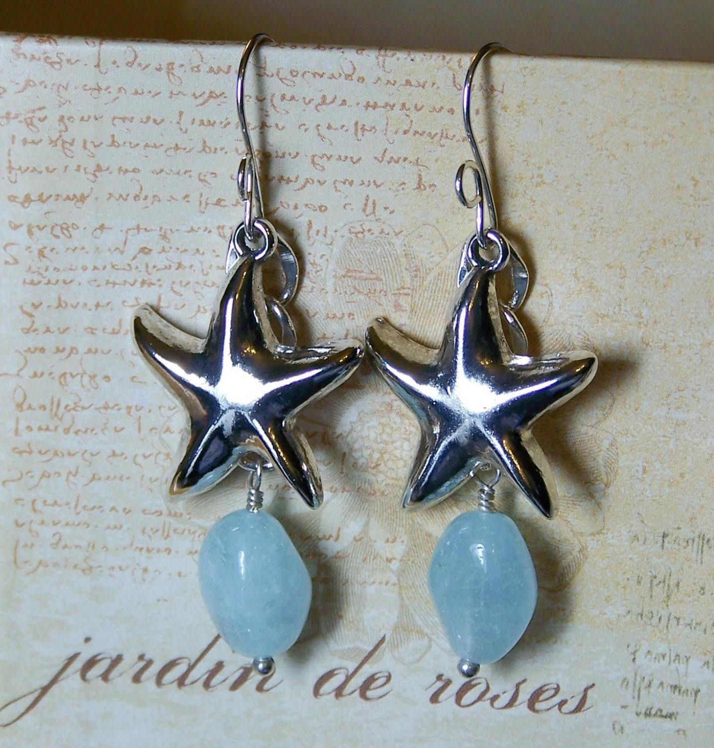 starfish aquamarine drop earrings