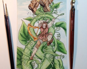 Jack's Great Flight - Jack and the Beanstalk - Original Watercolor, Fairy Tale, Illustration, 5x7