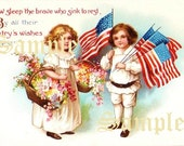 4th of July Vintage Postcard Image Digital Download Victorian Americana July 4th-  Memorial Day Flowers, Flags