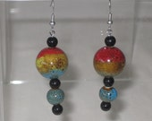 Multi Colored Pottery Earrings