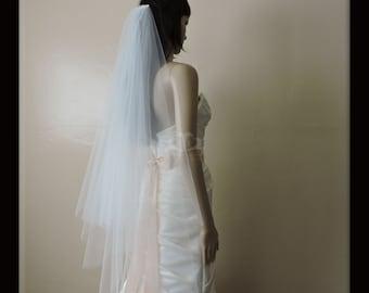 Wedding Veil Double Tier Gathered Drop Cut Edge, Bridal Veil,  Choose Lengths and Color