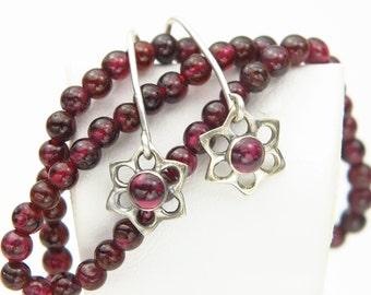Dainty Gemstone Garnet Amethsyt Moonstone  Flower Dangle Drop Earrings Sterling Silver