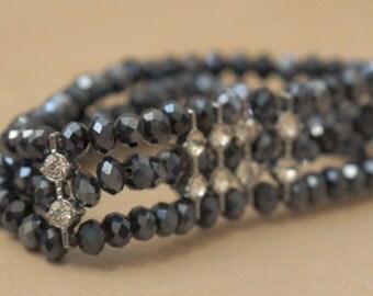 Bracelet - Dark Grey Crystal Beaded Bracelet with Silver Accent