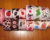 54 yards WHOLESALE Lot of Printed Grosgrain Ribbons in a 7/8 inch Width - Animal, summer, bug prints