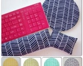 Herringbone chevron Keyboard rest and / or WRIST REST for MousePads  - Pick your own pattern - mouse pad set coworker gift Desk Accessories