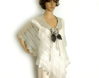 Loose knit poncho, Knit capelet, Boho poncho, Lace knit cape, Gray lace scarf, Fashion trend, Freeform crochet, Flower brooch