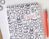 Owl Notebook // Spiral Bound Notebook // Reporter Style Notebook