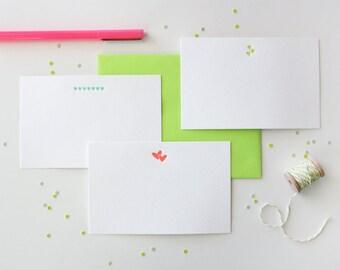 Letterpress Valentine Notes // Letterpress Valentines // Heart Notecards
