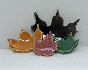 Decorative Porcelain Maple Leaf Imprinted Set of 4