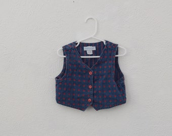 Vintage OshKosh B'Gosh denim toddler vest with red flowers and red buttons MADE IN USA