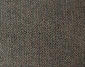 Feathered Nest - Tan with Black Herringbone Felted Wool Fabric- 100% Wool
