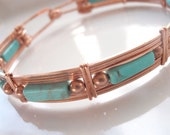 Genuine Turquoise Bracelet with Copper, Spring Clasp, Bangle, Unisex 8 Inches