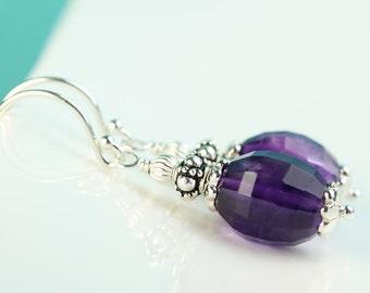 Amethyst Earrings, Argentium silver hooks, February Birthstone, amethyst earings with silver details, purple dangle earrings, by art4ear