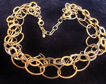 Sterling Silver Vermeil High Fashing Multi-Strand Oval Links Necklace