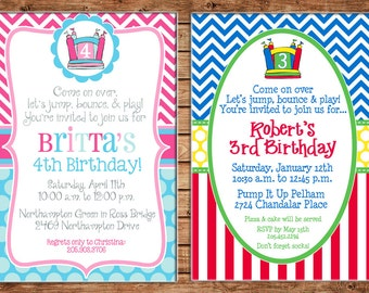 Boy or Girl Jump Bounce House Inflatable Party Birthday Invitation - DIGITAL FILE