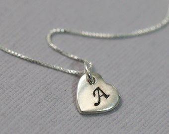 Flower Girl Heart Necklace, Initial Necklace, Sterling Silver Heart Necklace, Flower Girl Gift, Bridesmaid Necklace, Valentines Gift