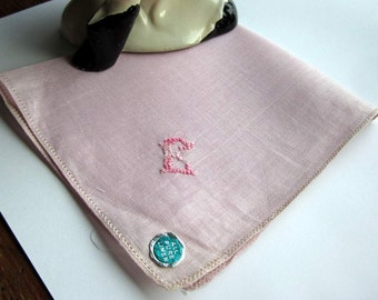 """Vintage Hand Embroidered """"E"""" Monogram  in Bright Pink on Pink Handkerchief/Hanky. Linen"""