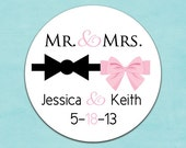 custom wedding stickers (design77) mr and mrs labels - wedding favors tuxedo bow and pink ribbon - laser printed