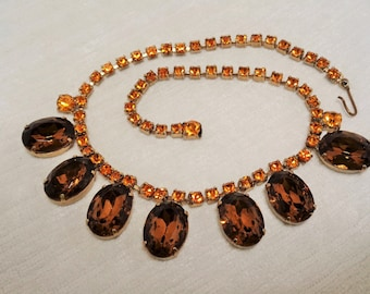 Vintage Brown and Amber Rhinestone Drop Necklace