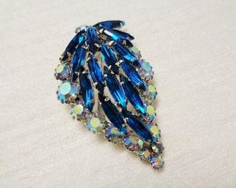 Vintage Cobalt Blue and Auroura Borealis Rhinestones Leaf Brooch