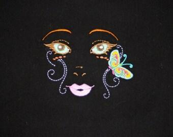 Fairy Faces II (5) Machine Embroidered Quilt Blocks