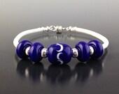 Glass Bead Bracelet in Striking Cobalt and White