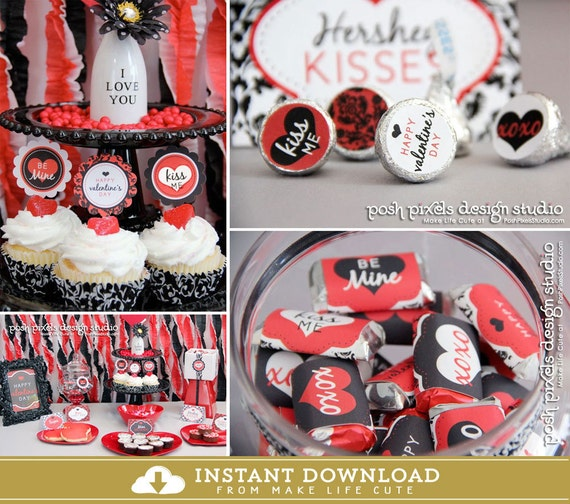 VALENTINE'S DAY - Printable Valentine's Party Collection - Cute Gifts- DIY Classic Valentine Collection - by Make Life Cute