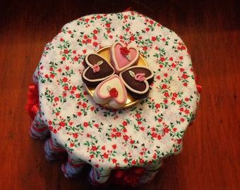 1/12 Scale (Dollhouse) Valentine's Hearts Dessert Confection Four Fondant Cakes on a Platter for a Buffet - Indoor Fairy Garden