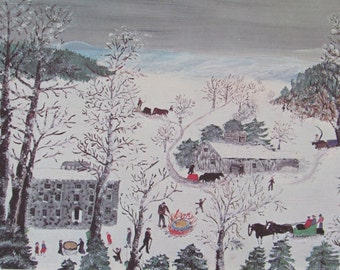 Grandma Moses--SUGARING, 1955, Color Print/Unframed Vintage Book Page Print--10.5 x 7.5 in