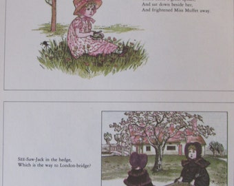 Kate Greenaway Childrens Print, Little Miss Muffet & See-Saw-Jack, with Rhyme, Unframed Vintage Book Page Print, 7.25 x 10