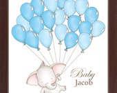 Elephant Themed Baby Shower Guest Book Print