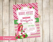 Colorful Strawberry Shortcake Photo Birthday Invitation with optional thank you card - Print Your Own