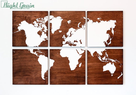 Wood World Map Wall Art On Stained Woodgrain Panels By
