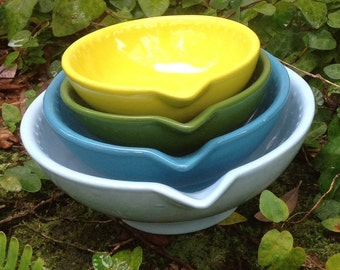 Ceramic measuring cup set, sky blue,turquoise, glade green, chartreuse, nesting, bake, hostess gift