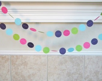 Purple, Aqua, Hot Pink, Lime Paper Garland. Girl Pink Dinosaur Birthday Party Decorations, Baby Shower Decorations, Mermaid Party Decor