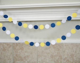 Royal Blue Yellow White Paper Circle Garland, Royal Blue Graduation Party Decor, Royal First Birthday Party Decorations, Baby Shower Garland