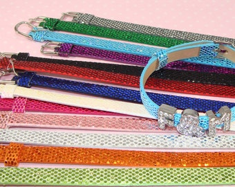 4 GLITTER Buckle Bracelet Straps Assorted Colors for Rhinestone Letter Slider Beads Personalized Custom Jewelry Supplies Metallic Sequin