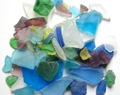 Beach Decor Sea Glass - Nautical Decor Beach Glass in BRIGHT MIX -  2 POUNDS