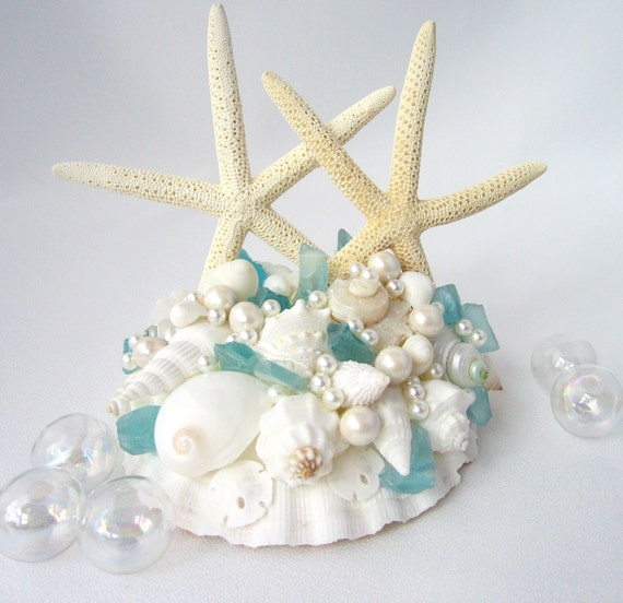Beach Wedding Starfish Seashell Cake Topper - Nautical Shell Cake Top w Starfish, Sea Glass