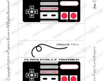 Print-INK Super Mario Bros. A La Carte Candy Bar Wraps - Classic Controller - Editable DIY Digital Printable PDF