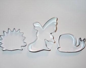 Woodland cookie cutter set of 3 Fairy hedgehog snail  cookie cutter