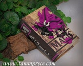 Ooak Polymer Clay Purple Sad Little Dragon on Small Magic Book / Box